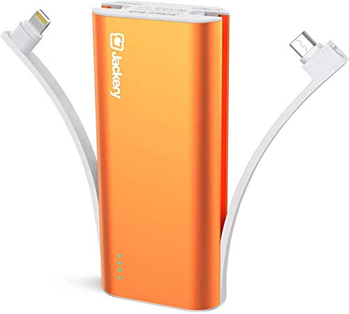 [Apple MFI Certified] Jackery Bolt 6,000mAh - Built-in Lightning Charging Cable & micro USB Cable portable Battery Phone Charger ultra-compact Power Bank Travel Charger for iPhone (Orange)