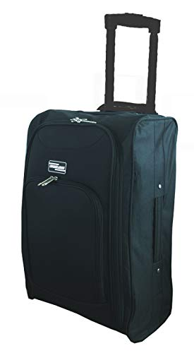 Hand Luggage Cabin Bag Trolley with Wheels Flight Bags Suit Case for Easyjet, Ryanair, British Airways, Virgin, FlyBe, Jet 2 and Many Others Airlines or Travel (Black)
