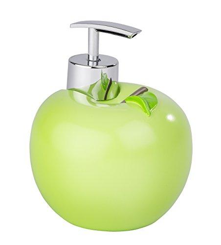 WENKO Seifenspender Apfel - Flüssigseifen-Spender, Spülmittel-Spender Fassungsvermögen: 0.295 l, Polyresin, 10.5 x 12.5 x 10.5 cm, Grün