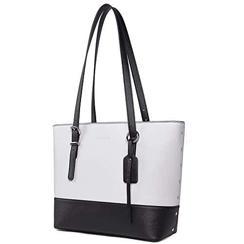 WESTBRONCO Bolsos de cuero para mujer, bolso de hombro de diseño, bolsa de hombro con asa superior para trabajo diario, viaje