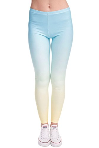 kukubird Printed Patterns Women's Yoga Leggings Gym Fitness Running Pilates Tights Skinny Pants Size 6-10 Stretchable-Ombre Yellow
