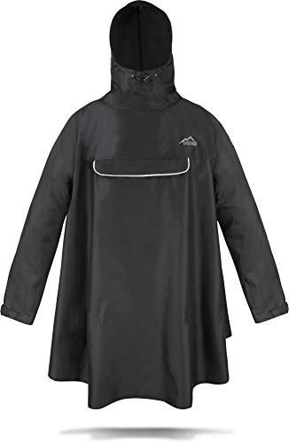 normani Regenponcho mit Ärmeln und Brusttasche für Damen und Herren [S-3XL] -YKK Brusttasche und 3M™ Scotchlite™ Reflektor Farbe Schwarz Größe S/M