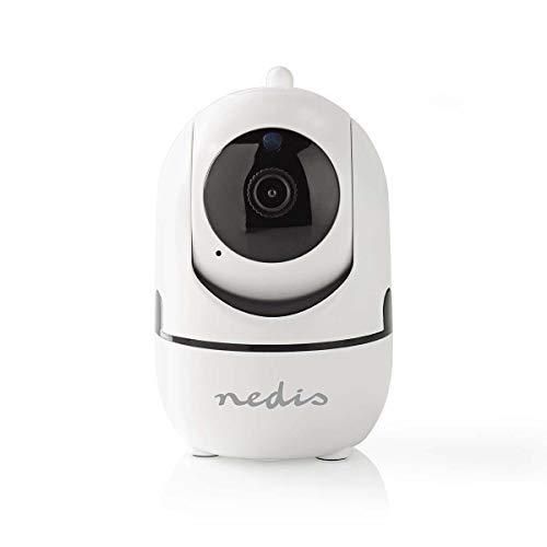 Nedis - IP-beveiligingscamera - 1920 x 1080 - Zwenken en kantelen - Autotracking van beweging - Kijkhoek 110° - MicroSD/Cloud opslag - Full HD