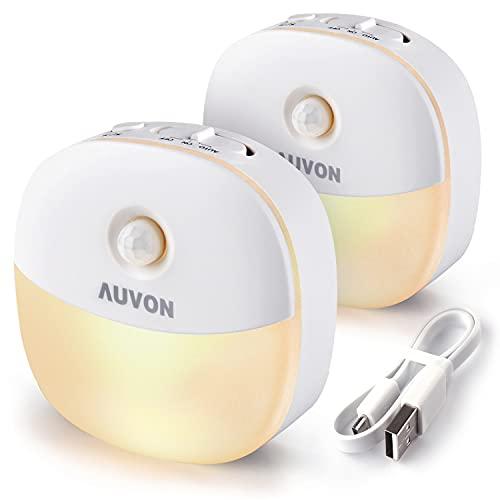 AUVON LED Nachtlicht mit Bewegungsmelder, Aufladbar USB Nachtlicht Kinder mit 3 Modi (Auto/ON/OFF), Warmes weißes Nachtlampe für Kinderzimmer, Schlafzimme, Badezimmer, Gang [2 Stück]