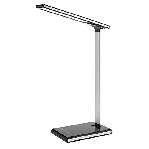 Schreibtischlampe LED, 60 LED Tischlampe Memory Funktion Tischlampe, 3 Farb und 5 Helligkeitsstufen Dimmbar Tischleuchte mit Touchbedienung, Tragbar, Augenschutz für Büro, Lesen, Studieren schwarz