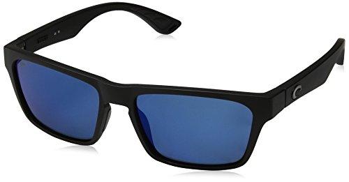 Costa Del Mar Men's Hinano Rectangular Sunglasses, Blackout/Blue Mirrored Polarized-580P, 54 mm