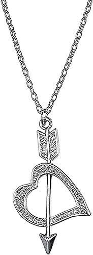 ZHIFUBA Co.,Ltd Necklace Woman Necklace Romantic Necklace Valentine's Day Necklace Minimalist Love Cupid an Arrow Bearing White Heart Necklace Pendant Necklace