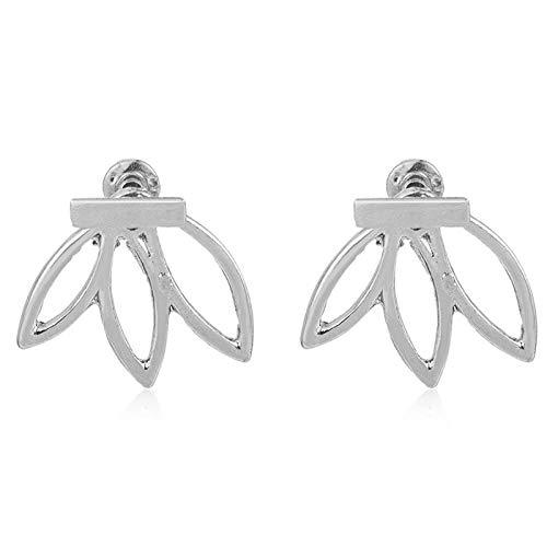 Arete Hollow out Lotus Flower Stud Earrings Ear Hook Stud Jewelry Fashion Statement Jewelry Earrings For Women Silverplated