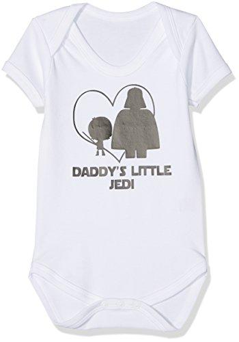 """Divertido pijama con diseño de la Guerra de las Galaxias y el texto """"Daddy's Little Jedi"""" (El pequeño Jedi de papá) blanco Talla:6-12 meses"""