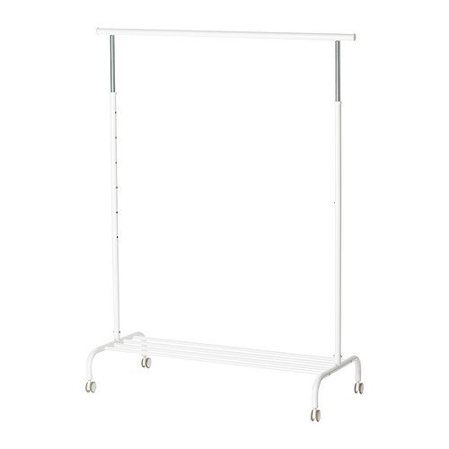 Ikea Rigga Coat and Hat Stand, White, Metal, 111 x 51 x 126 cm