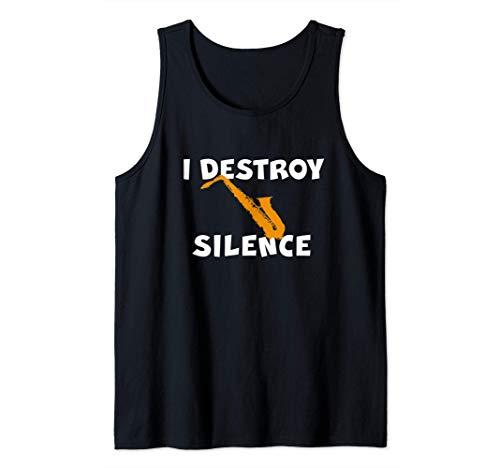 Saxofonista Saxo Alto Saxo Tenor I DESTROY SILENCE Camiseta sin Mangas