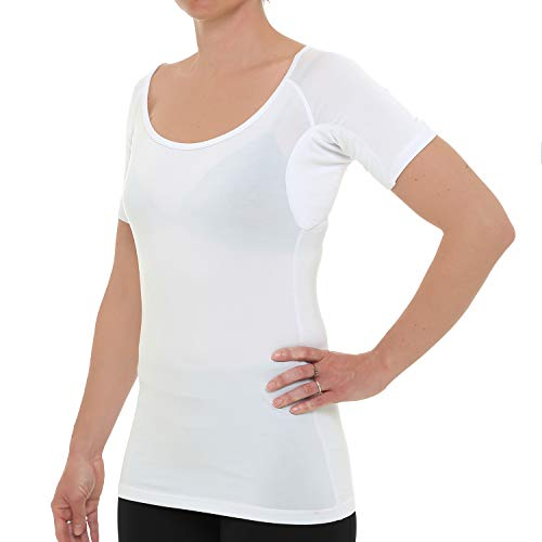 Drywear T-Shirt gegen achselschweiss für Frauen (Large, Weiß)