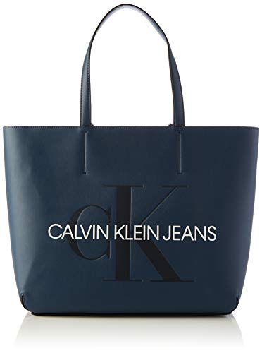 Calvin Klein - Sculpted Monogram E/w Tote29, Bolsos totes Mujer, Azul (Washed Blue), 1x1x1 cm (W x H L)