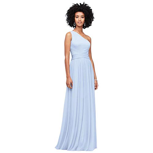 David's Bridal One-Shoulder Mesh Bridesmaid Dress with Full Skirt Style F19932, Ice Blue, 0