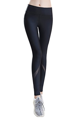 Everbellus Vita Alta Leggings Palestra Push Up Pantaloni Yoga Fitness Donna Nero Small