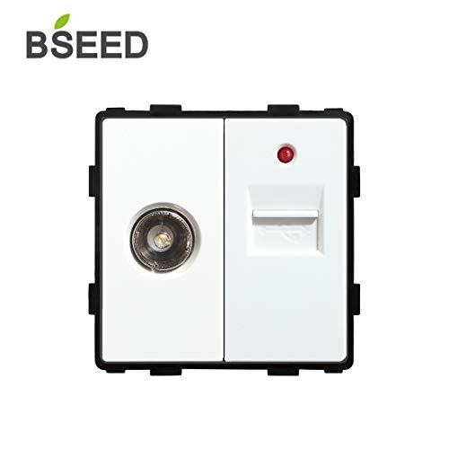 BSEED EU Standard 1/2 TV mit USB Steckdose Antenne Koaxial Weiß 86mm