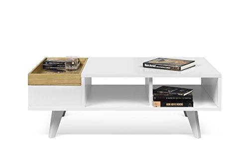 TemaHome 9003.627811 Platô Table Basse, placage de chêne, Blanc, 110 x 65 x 39 cm