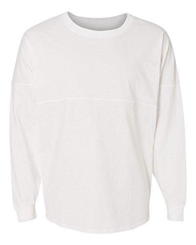 J. America Women's Ladies Game Day Jersey Long Sleeve t-Shirt, White, Medium