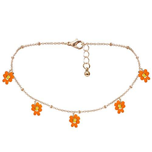 Happyyami Boho Perlen Blume Choker Halskette Gänseblümchen Samen Perlen Choker Handgemachte Kette Blumenketten Schmuck für Frauen Mädchen Geschenke (Orange)