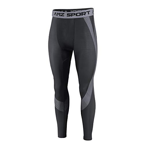 AMZSPORT Medias de Compresión Deportivas para Hombres Pantalones de Entrenamiento de Leggings de Capa Base Cool Dry Baselayer para Toda la Temporada Nueva Generación Negro S