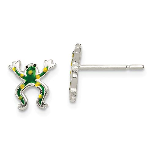 Sterling Silber Emaille poliert Frosch Post-Ohrringe JewelryWeb