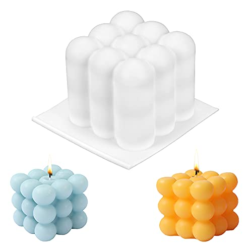 Kerzen Silikonform, Kerzenformen, 3D Ball Cube Silikon Mold, Kunststoff Mold für Handwerk Ornamente Kerzen Seifen Süßigkeiten Die Herstellung Von Pralinen Hausgemachte Geschenk Party, Kerzen Gießen