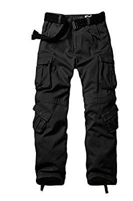 AKARMY Men's Fleece Lined Outdoor Cotton Cargo Pants Casual Military Army Combat Work Ski Hiking Pants with 8 Pockets Black 40