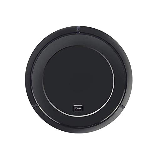 Robot Aspiradora, Muy Delgado y silencioso Fuerte succión del Aspirador robótico, Limpia Pisos Duros a Las alfombras Medio-Pile, Negro LUDEQUAN (Color : Black)