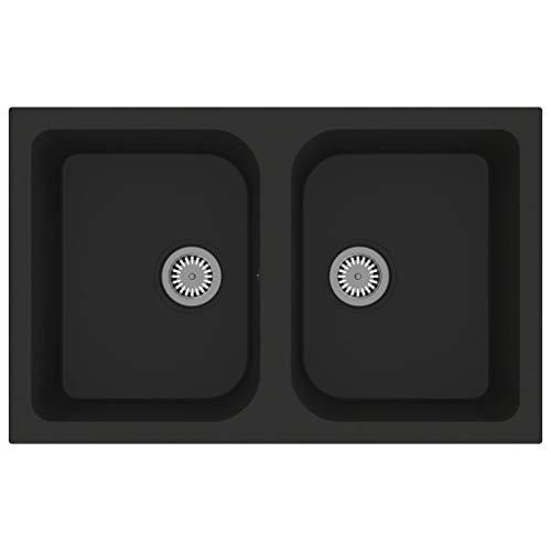 vidaXL Fregadero de Cocina Doble Seno con Rebosadero Granito Eliminar Restos Profundidad Extra Montaje por Encima Empotrado Debajo Decoración Negro