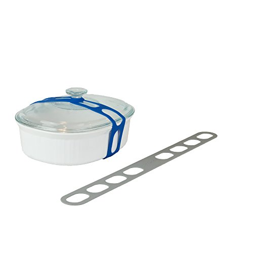 Lid Latch the reusable universal lid securing strap for crockpots, casserole dishes, pots, pans and more. Make it easy to transport your favorite dishes with one simple, flexible strap. (Grey)