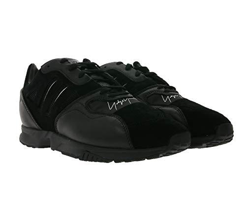 adidas X Yohji Yamamoto Y-3 ZX Run Sneaker ausgefallene Herren Low Top Sneaker Echtleder mit Signatur Freizeit-Schuhe Schwarz, Größe:42 2/3