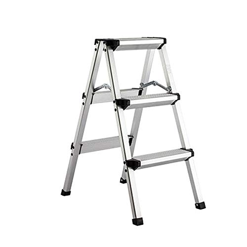 YLQC 3-Step Step Stool,Folding Step Ladder,Lightweight Aluminum Stepladders with Anti-Slip Pedal,Household Work Use,330 Lbs (150kg) (Color : Silver)