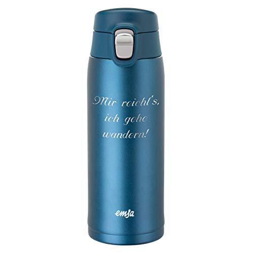 Emsa Thermobecher Travel Mug Light 0,4 L Blau mit persönlicher Rund-Gravur gelasert und Flip-Deckel Verschluss