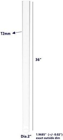 Wall 15139-36-1PK 2mm 3.937 Exact Outside dim 5//64 x 36 Long FixtureDisplays Clear Acrylic Tube 4 Diameter