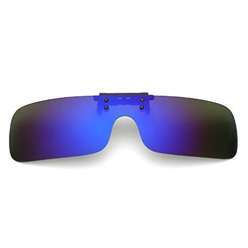 クリップオン オーバーサングラス 偏光レンズ uv400カット を防ぐ 夜用メガネ 夜用眼鏡 夜釣り 釣り 運転 夜間運転用 昼夜兼用 男女兼用 (青)