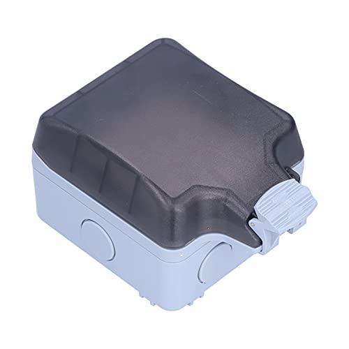 Eujgoov Zócalo al aire libre de 6 agujeros, receptáculo de pared de la caja de alimentación del grado 127V / 250V 15A de la prenda impermeable IP66
