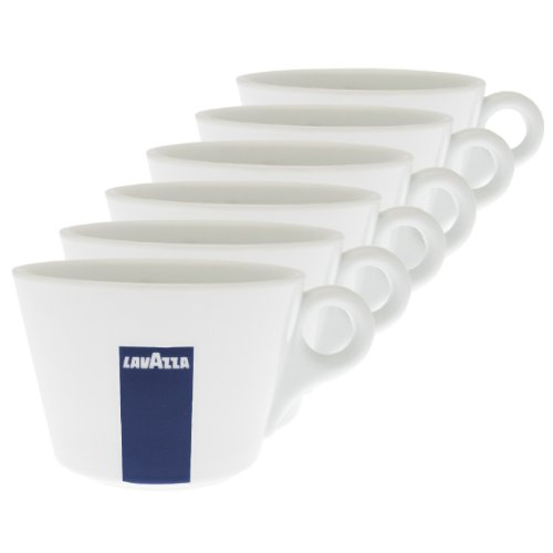 Lavazza Blu Collection Milchkaffee Tasse Konisch, 6er Pack, Kaffeetasse, Porzellan, Weiß, 250ml, 20002140