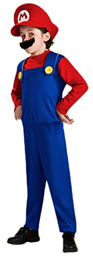 Ugoccam Super Brothers Halloween Kids Cosplay Costume Mario Brothers Kids Red Medium