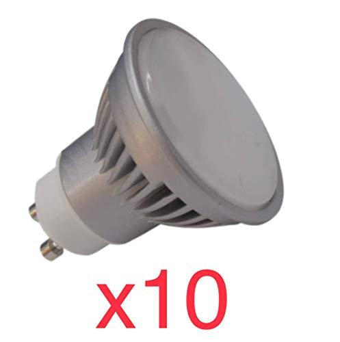 10x regulador GU10 6W LED Bombilla Lámpara Proyector equivale a 50W Halógeno Cool-tibia