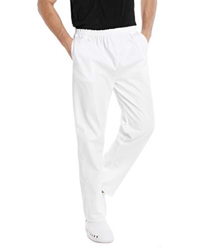 WWOO Uomo Pantalone da lavoro Bianco puro Cotone Pantaloni Pantaloni da Infermiere opaco pantalaccio con elastico Materiale Sottile XL