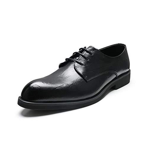 LFSP Zwarte klassieke Oxford-schoenen Moderne Zakelijke Oxford For Men Formele Schoenen Puntschoen Lace Up microfiber Leer Croc Texture Stitch Anti-slip Lage Top British Style brede flats