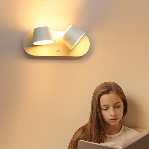 Wowatt Aplique Pared Interior 220V LED Lámpara de Pared Decorativa Con Interruptor 12W Blanco Cálido Orientable foco de Pared Moderna para Dormitorio Salón Pasillo Cabecera Hotel Comedor Habitación