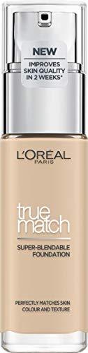 LOréal Paris True Match trwały podkład do twarzy w płynie, pielęgnujący z kwasem hialuronowym, SPF 17, 1.N Ivory, 30 ml