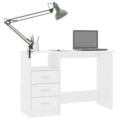 Cikonielf - Mesa de trabajo de madera, 110 x 50 x 76 cm, escritorio para ordenador con 3 cajones y un compartimento abierto, mesa para ordenador de oficina, casa, color blanco brillante