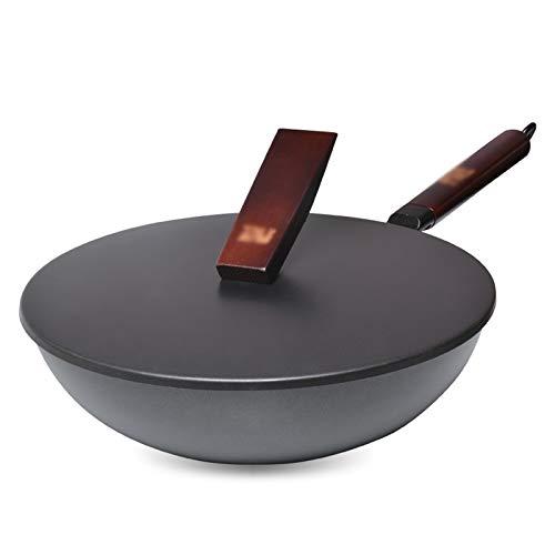 SHYPT Wok De Cocina Olla De Hierro Grande Para El Hogar Sartén Antiadherente Sin Revestimiento Antiguo Wok De Fondo Redondo Wok Frito De Chef