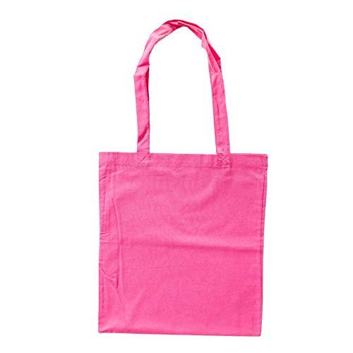 Bags by Jassz Stoffbeutel aus Baumwolle mit langen Henkeln (ca. 38 x 42 cm, Pink (Fuchsia))