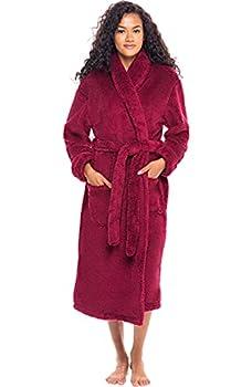 Alexander Del Rossa Women s Plush Fleece Robe Warm Shaggy Bathrobe Small-Medium Burgundy  A0302BRGMD