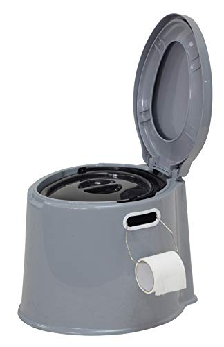 Denny International Large 6L Compact Portable Toilet Potty Loo with Washable Basket and Toilet Roll Holder for Pool Party Camping Caravan Picnic & Festivals (Grey)