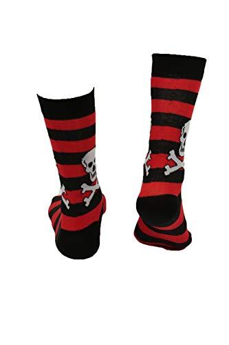 Socken mit verschiedenen Designs, Baumwolle, bedruckt, Gr. 37-42 Gr. 39-45, Rot gestreifter Totenkopf
