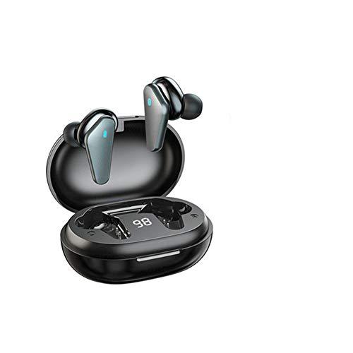 Auriculares Bluetooth Auriculares inalámbricos Bluetooth 5.0 Auriculares Impermeable con estuche de carga LED Micrófono de pantalla de batería, Auriculares de control táctil de audio estéreo,Negro